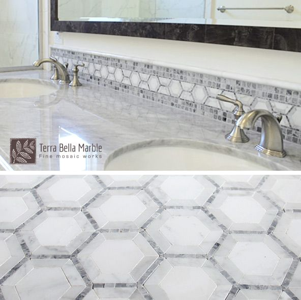 A familiar shape, the hexagon makes a great impression! Shown here is an artful combination of our hexagon border, open joint tile and solid carrara marble.