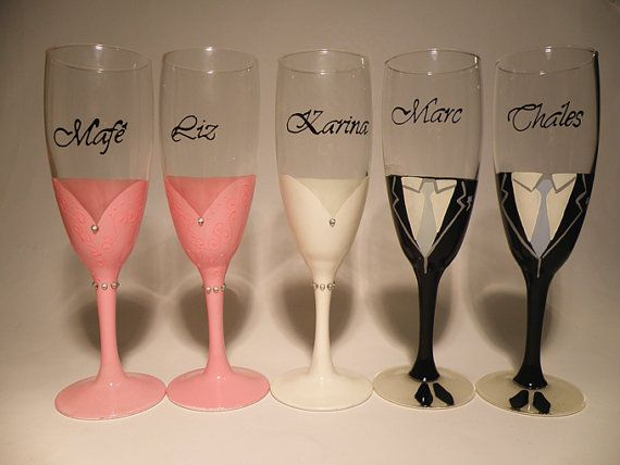 custom bridesmaids gift bridal bachelor party champagne glasses dresses and groomsman suits wedding wine
