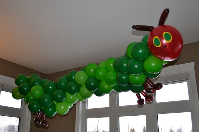 Balloon caterpillar at a Very Hungry Caterpillar Birthday Party!  See more party ideas at CatchMyParty.com!  #partyideas #caterpillar