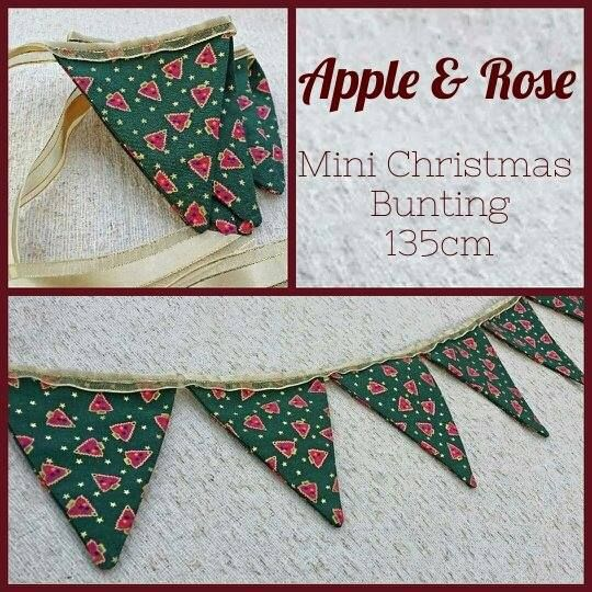 From Apple and Rose. Handmade mini Christmas bunting.