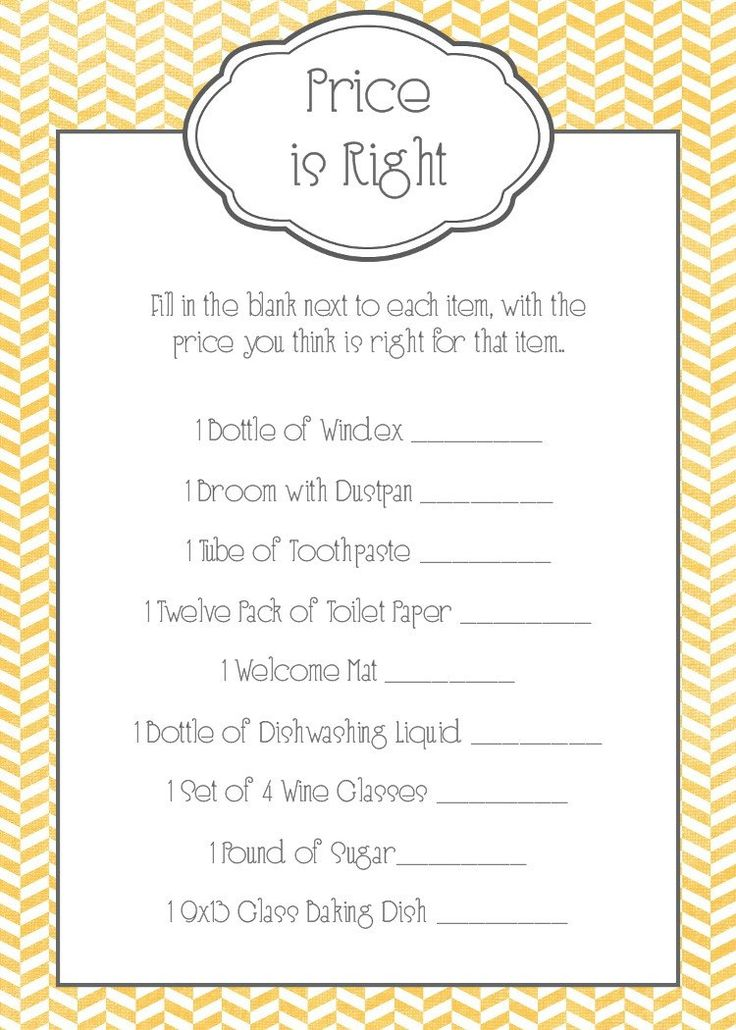 Bridal Shower Game - Price is Right love this idea... But I'd have pictures printed out of things like a 2 carat diamond ring, wedding dress, high heels, honeymoon vacation to the Bahamas, etc. to let them look at and then decide on their game cards