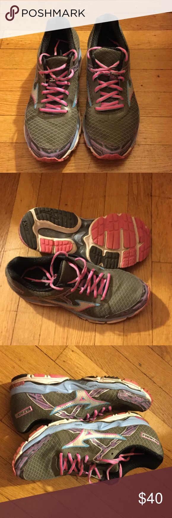 Minzuno running sneakers Minzuno Wave enigma 4 in great condition worn for a season. Pink, light blue, and grey sneakers. Mizuno Shoes Sneakers