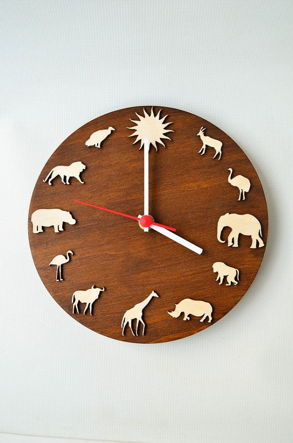 Wooden clock Safari african animals Christmas gift by MustHaveGift