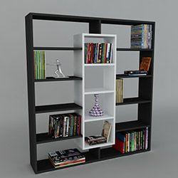 Dekorister Ample Kitaplık - Siyah - Beyaz