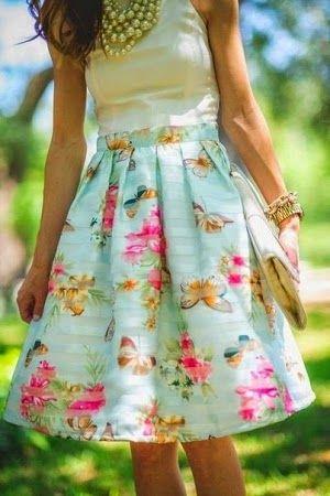 Mavi Çiçekli Etek,Elbise,Ayakkabı Modelleri/Kombinleri 2014-2015 | kadın ve moda dekorasyon mobilya ve ev gereçleri tanıtım fiyatları