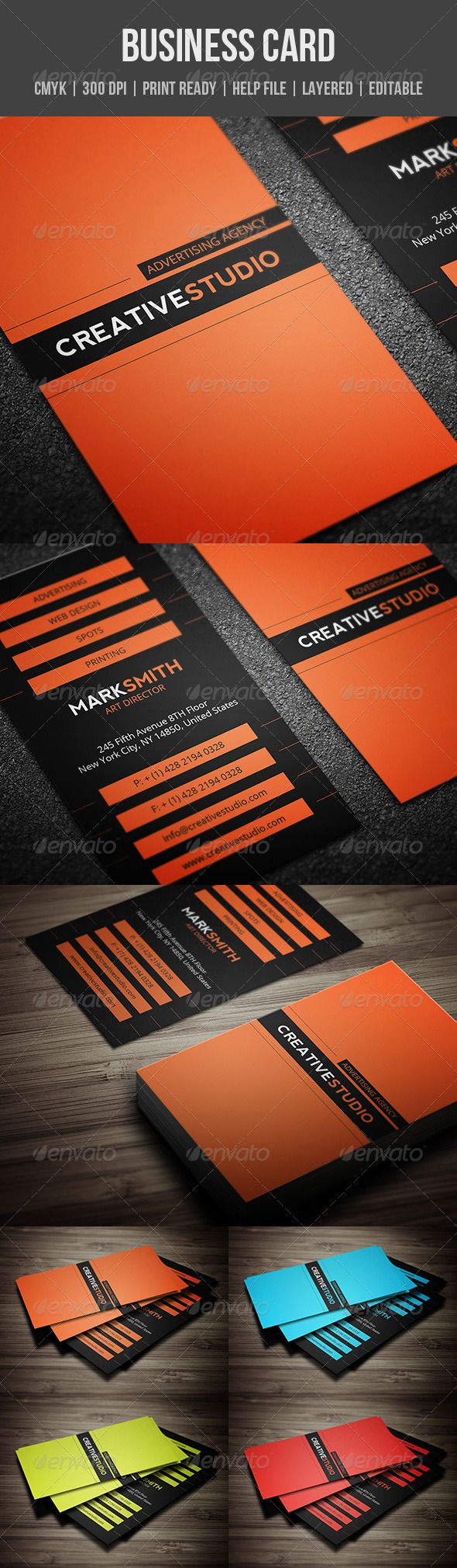 Creative Business Card  #GraphicRiver         Features:   CMYK colors  300 DPI  Layered PSD files  Customizable and Editable  2×3.5 (2.25×3.75 with bleeds + Trim Mark)  Print Ready Format  Vertical Business Card   Included:   2 PSD files (front and back), 4 color versions (orange, blue, green, red)  1 PDF Help file   Fonts:   Nevis here  Open Sans here  If you have any question please contact me via my