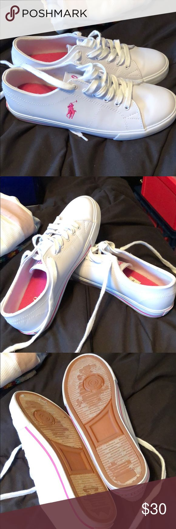 Polo ralph lauren shoes worn twice. laces and shoes clean with no scuff marks. Ralph Lauren Shoes Sneakers