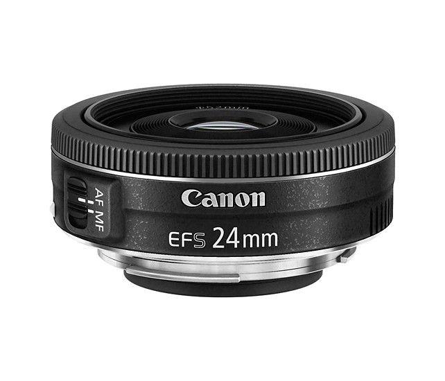 Canon - EF-S 24mm f/2.8 STM Standard Lens for Canon APS-C Cameras - Black - Larger Front