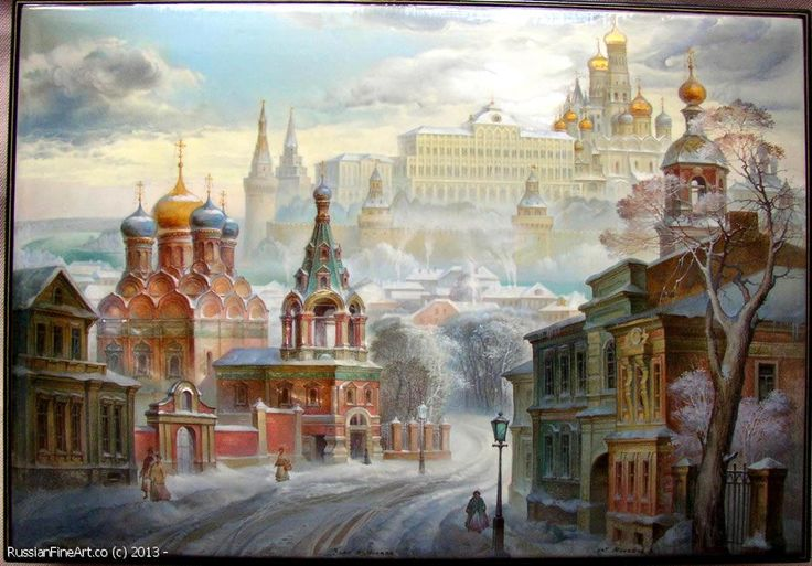 "Monashov Vladimir ""The Winter In Moscow"" - box, Fedoskino lacquer painting technique. $4185.00"