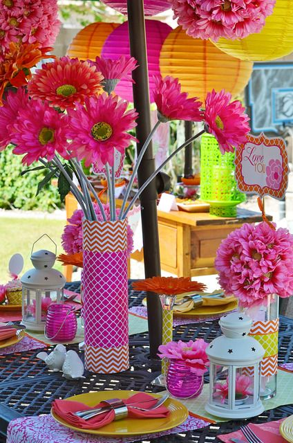 cuteMothers Day, Summer Parties, Bridal Shower Ideas, Vibrant Colors, Colors Schemes, Outdoor Parties, Parties Ideas, Bright Colors, Parties Decor