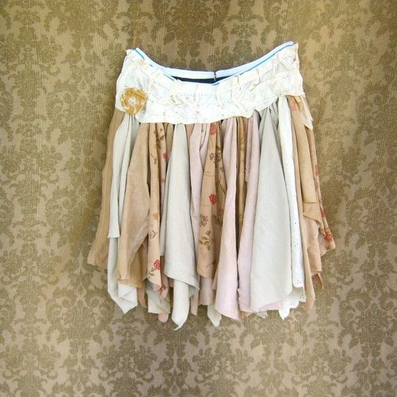 made to order - Funky Eco Tattered Fairy Pixie Mini Skirt - layers and layers of flowing jersey knit finds. from funky florals in neutral tones to ecru
