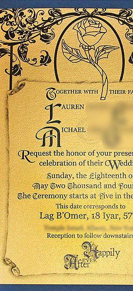 Themed custom wedding invitations - Beauty and the beast themed wedding