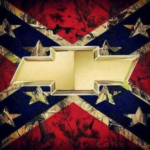 Rebel flag with Chevy symbol