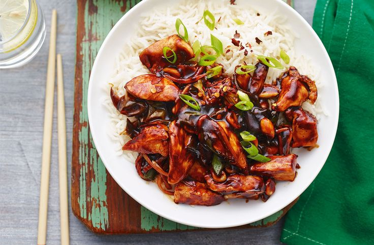 Gong bao Chicken with ginger, garlic, chilli & peanuts. This classic Chinese recipe from Tesco Real Food takes 20 minutes - a great dinner for two idea.