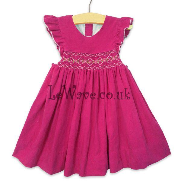 Color de rosa caliente de pana de la mano del bebé vestido de smocked - LD 035-imagen-Vestidos para chica -Identificación del producto:169048476-spanish.alibaba.com
