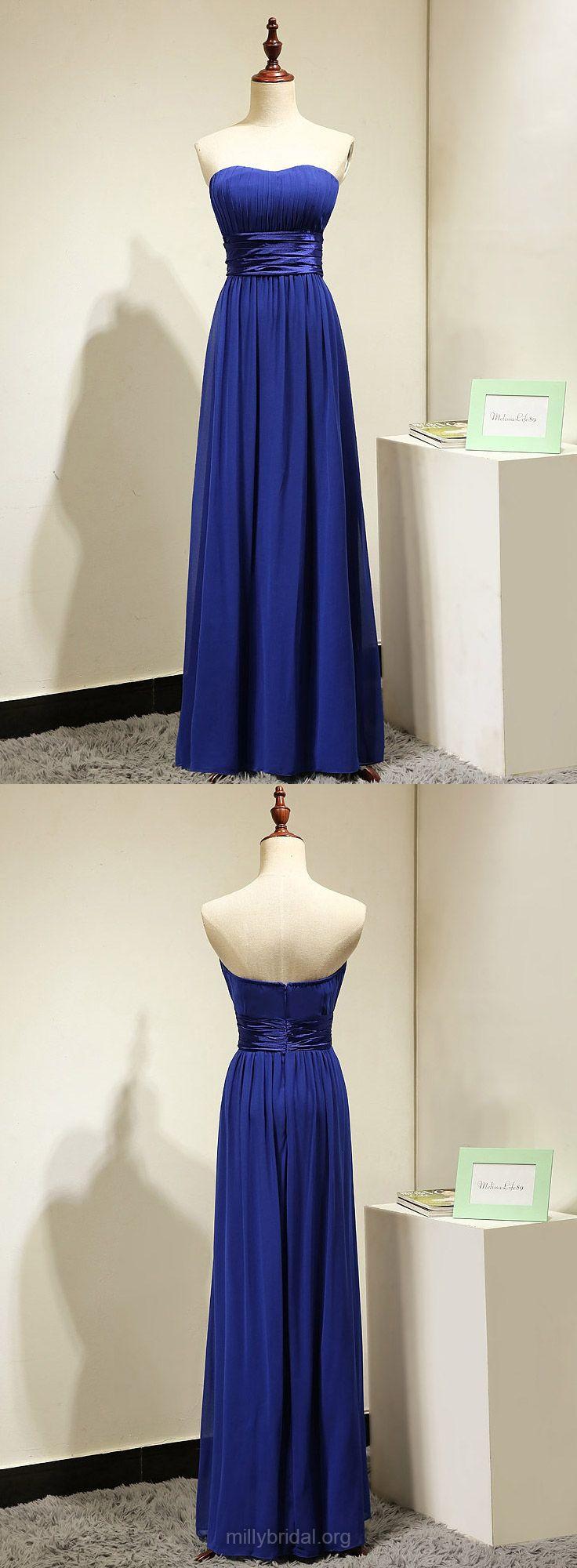 Royal Blue Bridesmaid Dresses Long, Cheap Bridesmaid Dresses A-line, Strapless Bridesmaid Dresses Chiffon, Modest Bridesmaid Dress 2018 Sashes / Ribbons