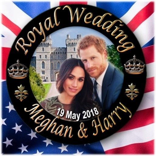 "PRINCE HARRY~MEGHAN MARKLE~ ROYAL WEDDING SOUVENIR ~2.2""/55 mm FRIDGE MAGNET"