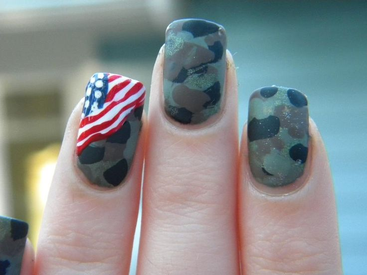 American flag camo army nail design but would look better with Navy Blue Camo:)
