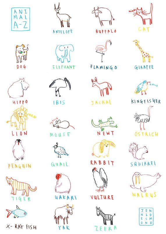 Animal AZ Giclee Print by jennidesmond on Etsy