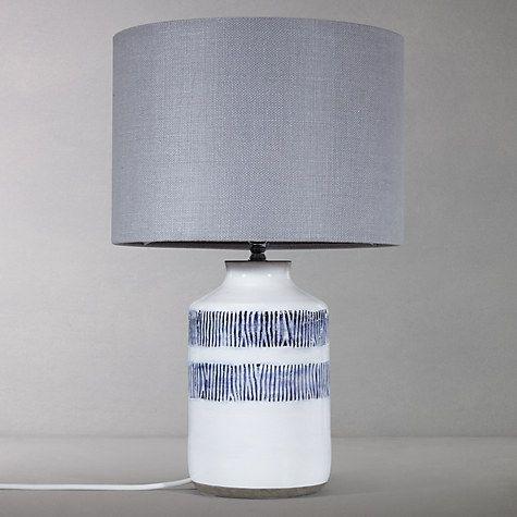 Buy John Lewis Mandisa Stripe Lamp Base, White/Blue Online at johnlewis.com