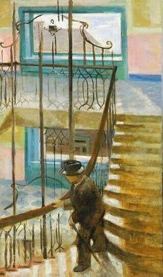 Stairway  -   István Szönyi, 1936  Hungarian 1894 - 1960  Oil on canvas, 114 x 70 cm (44,9 x 27,6 in)