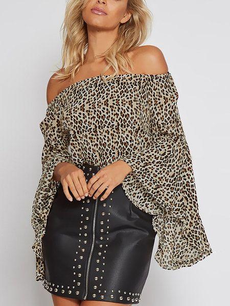 7644db9013e2 Leopard Print Elastics Off-The-Shoulder Bell Sleeves Top - US$11.95 ...