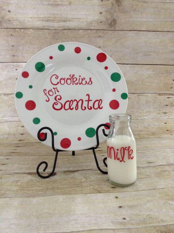 Santa cookies and milk plate