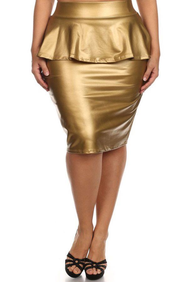 plus size chic peplum leather midi skirt plussizefix