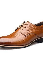 Masculino-Oxfords-Conforto Sapatos formais-Rasteiro-Preto Marrom-Couro-Ar-Livre Escritório & Trabalho Casual Festas & Noite