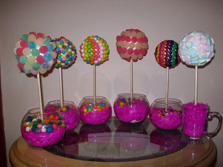 decoraciones para quinceaneras candy theme   Centros de Mesa (Candy Topiary)