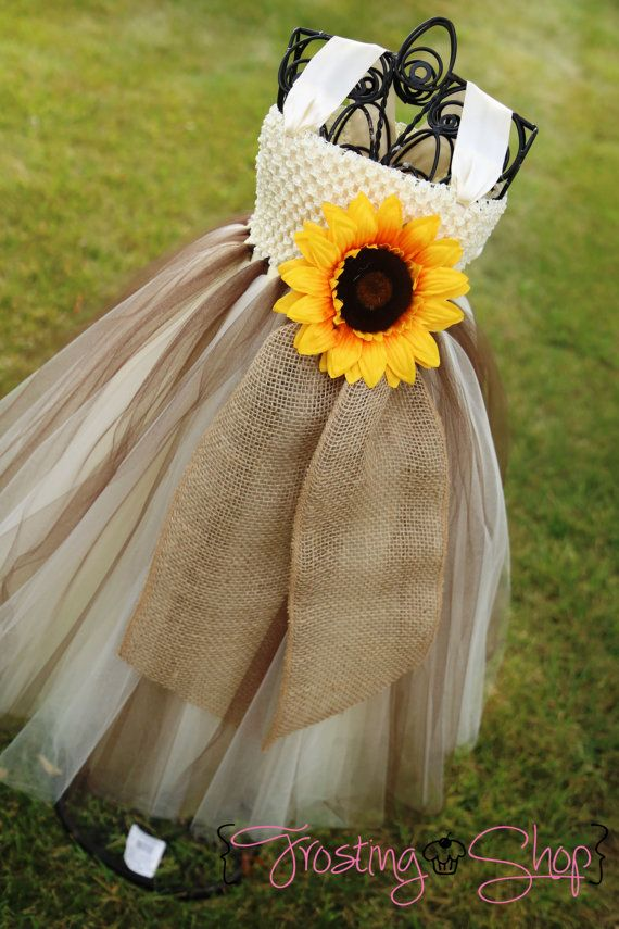 Sunflower and Burlap Tutu Dress Flower by FrostingShop on Etsy
