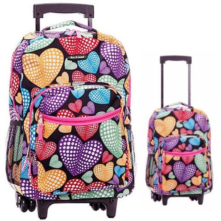Rolling Backpacks Pink #Wheeled #School #Bookbag #Hearts #Kid Travel Carry On #Luggage #Rockland #Backpacks#ShoppingOnlineDeals #DanAnnStore #Buyablepins