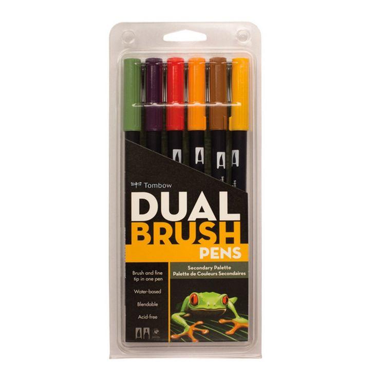 Tombow Dual Brush Pen Set, Secondary, 6PK