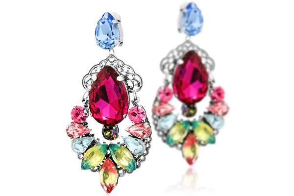 Boucles d'oreilles clips taille poire et marquise, cristal Réminiscence