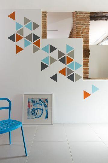 d coration formes g om triques graphique int rieur lignes mat riaux murs peinture deco. Black Bedroom Furniture Sets. Home Design Ideas