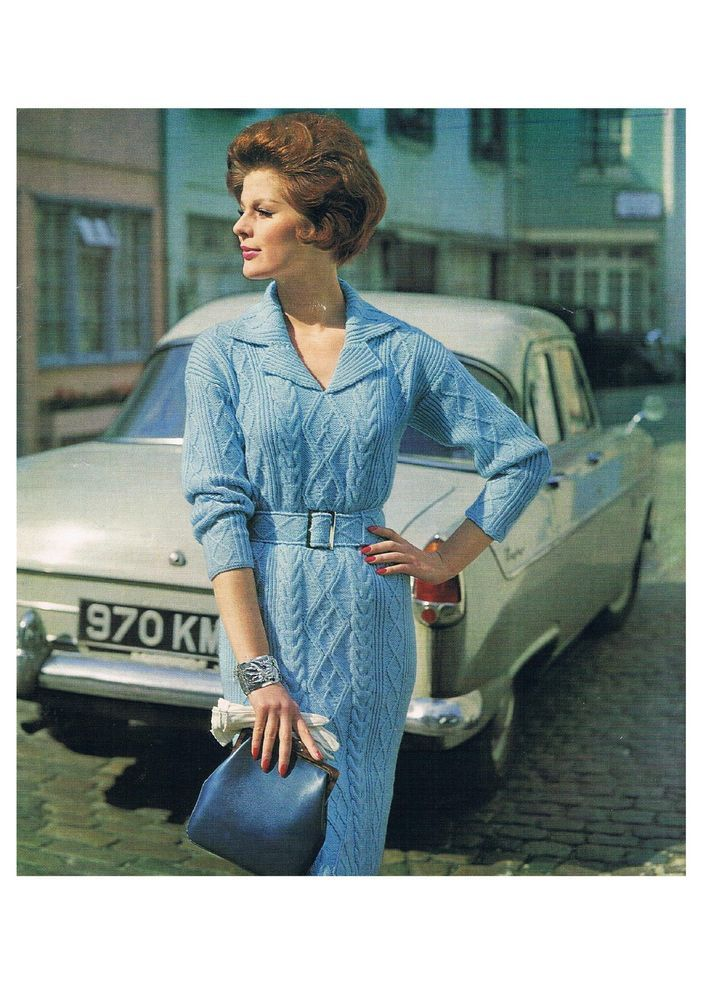 Ladies Vintage Cable V-neck Dress Knitting Pattern PATTERN ONLY 32-36 in DK