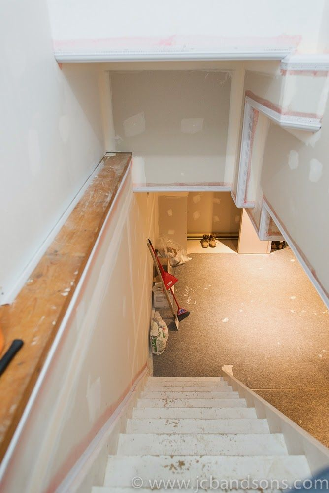 """JCB and SONS Drywall trim tex 3-1/2"""" crown mold step a bull green board taping mudding basement renovation remodel finishing Owen Sound Hanover West Grey Durham Construction Carpenter Boarding"""
