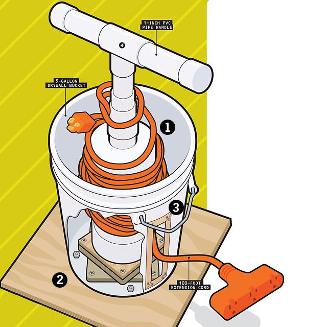 Store Your Extension Cords Without Tangling Them Up - I bet an empty litter bucket would work too!