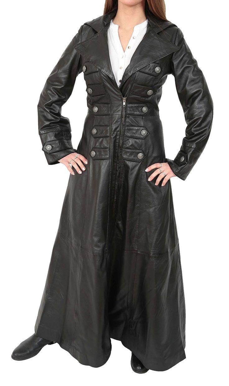 Ladies Full Length Long Leather Military Style Gothic Coat Kourtney Black (X-Small)