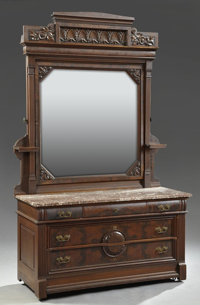 Octagonal Aesthetic American Drawers Beveled Figured Flowers Flanked Dresser Drawers Marble Carved Frieze Convex Walnutamerican Aesthetic Carved