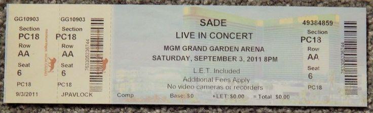 SADE / JOHN LEGEND ORIGINAL CONCERT USED TICKET,MGM VEGAS, SEPTEMBER 3 2011