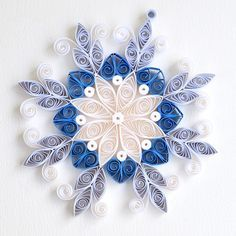 https://flic.kr/p/CrsyyC | 8 point white and blue mix quilled ornate snowflake