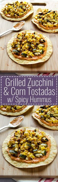 Grilled Zucchini & Corn Tostadas with Spicy Hummus – These simple & easy to make tostadas are loaded with flavor as they're piled high with grilled corn and zucchini and lathered with a spicy roasted red pepper hummus. (Vegan & GF) | RECIPE at NomingthruLife.com
