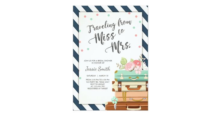 Travel Bridal shower invitation Miss to Mrs Navy | Zazzle.com