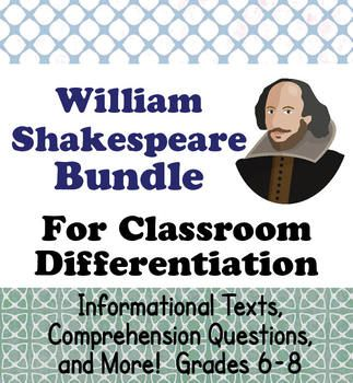 This small bundle includes two biographical units about William Shakespeare designed for two different levels.  They would be perfect to use for classes where there are different reading levels, or for teachers who might teach more than one grade or have ELL students.