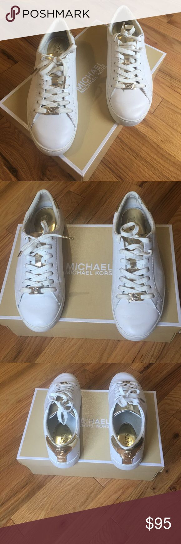 """Michael Kors Irving lace up Michael Kors Irving lace up Perfect for styling on the go, this lace-up sneaker lends a stunning update to an ultra casual look! Crafted from fine vachetta leather with a metallic gold leather trim, this shoe lends a luxurious touch to your favorite ensembles.         leather sneaker with metallic golden accents. 1"""" platform sole. Round toe. Lace-up front. Tonal topstitching. Padded footbed and heel counter. Rubber sole Worn 3X, GREAT Condition! Comes in Michael…"""