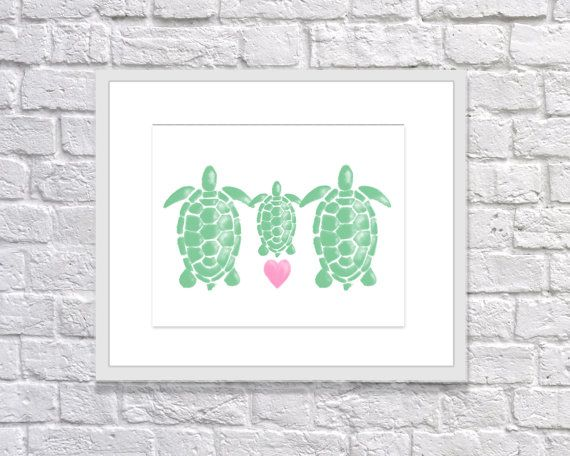"""Turtle Print: """"WATERCOLOR TURTLE FAMILY"""" Printable Art for Nursery or Kids Room Wall Decor, Baby Shower Invitation or Gift"""