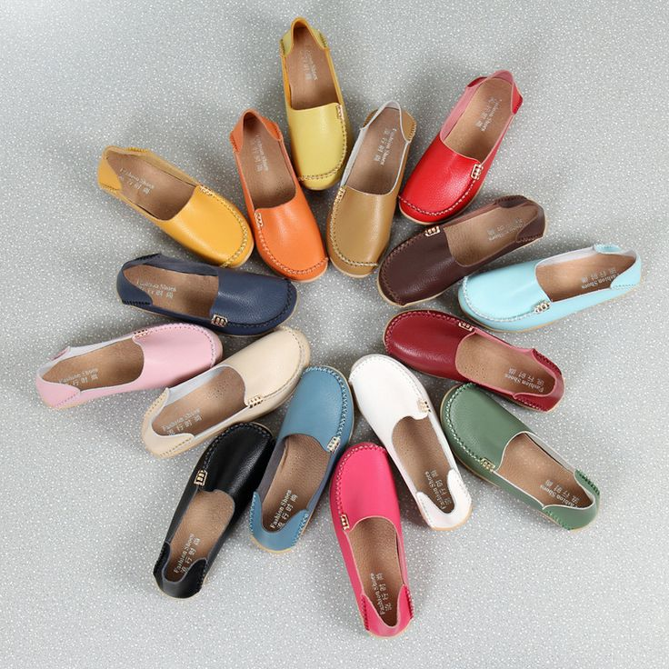 AIER Women's Plus Size Slip-On Flats - Shoes| Brand: AIER Upper Material: Leather Outsole Material: Rubber Heel height: Flat Color: Black, White, Orange, Green, Red, Brown, Tan, Blue, Pink