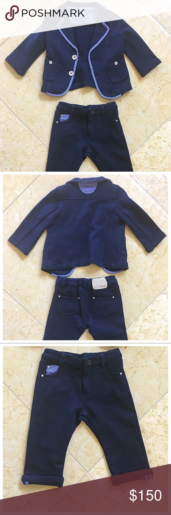 Fendi Baby Navy Suit Fendi navy blue suit for your dapper baby. Soft 100% cotton. Worn once. Size 12 months. Great outfit for the holidays or special occasion. Fendi Matching Sets