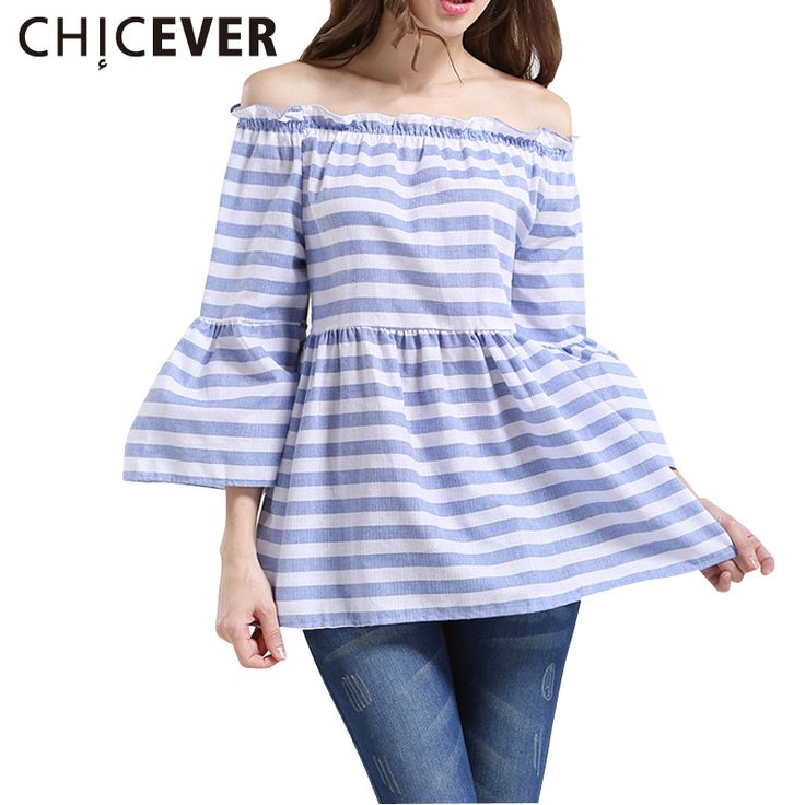 >> Click to Buy << CHICEVER 2017 Summer Women Striped Sexy Off Shoulder Slash Neck T Shirts Female Flare Sleeve Tops Cute Loose Clothes Fashion #Affiliate